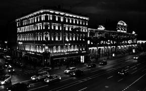 Picture Night, Saint Petersburg, Nevsky, Black and white, Nevsky Prospekt