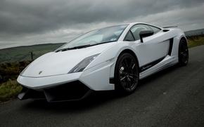 Picture white, white, lamborghini, side view, Lamborghini, lp570-4, black rims, Gallardo of Superleggera, gallardo superlgegera
