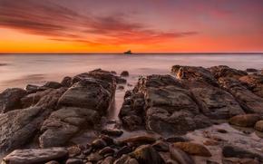Picture stones, the ocean, dawn, shore, view, yacht, horizon