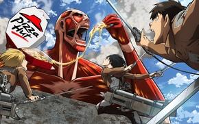 Picture girl, wall, form, guys, pizza, Titan, Attack on Titan, attack of the titans, Shingeki no …