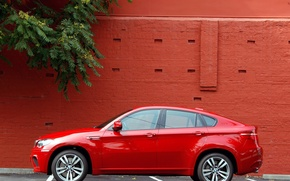 Wallpaper machine, red, wall, bmw