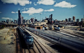 Picture clouds, the city, skyscrapers, Chicago, railroad, trains, Illinois