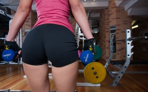 Picture the gym, dumbbells, figure, girl, shorts, style