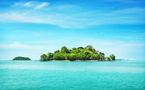 Picture sea, beach, the sky, trees, landscape, shore, island
