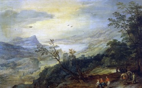 Picture trees, mountains, people, Bay, Jan Brueghel, Panoramic Landscape