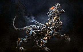 Picture animal, robot, steampunk, render, Aleksandr Kuskov, beast, alekscg