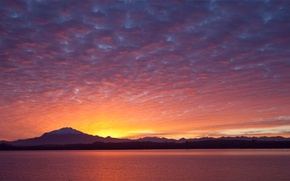 Picture the sky, clouds, trees, sunset, mountains, lake, shore, the evening, Chile, away, Chile, Puerto Varas, …