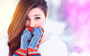 Picture winter, girl, snow, blonde, I love it