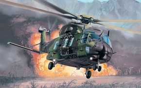 Wallpaper the explosion, fire, helicopter, multipurpose, Eurocopter, NH90, extraction, NHI