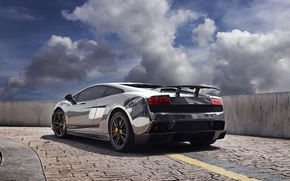 Picture the sky, clouds, shadow, pavers, silver, the fence, gallardo, lamborghini, back, Lamborghini, Gallardo, silvery, lp570-4, …