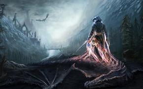 Picture mountains, bridge, river, dragons, warrior, art, soul, Skyrim, The Elder Scrolls V, Dovahkiin