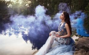 Picture girl, lake, smoke