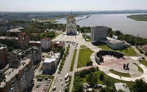 Picture summer, the city, river, photo, street, home, Church, Cupid, Khabarovsk