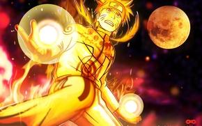 Picture moon, Naruto, Anime, Flame, art, Ninja, Uzumaki, Naruto Shippuden, Blonde Hair, Manga, Bijuu Dama, Chakra, ...