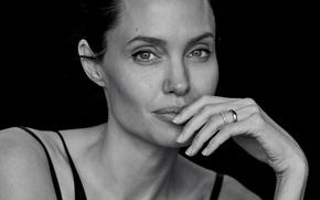 Wallpaper portrait, black and white, Wall Street Journal, actress, Angelina Jolie, Angelina Jolie, Peter Lindbergh, black ...