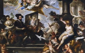 Picture portrait, picture, genre, Luca Giordano, Rubens Writes An Allegory Of Peace