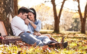 Picture girl, the sun, nature, Park, mood, guy, two