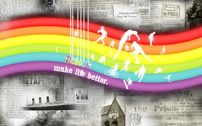 Wallpaper color, rainbow, Newspapers, Color make life better