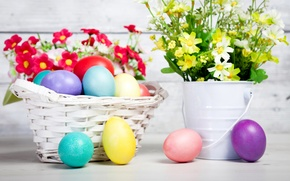 Picture flowers, flowers, eggs, Easter, colorful, Easter, eggs