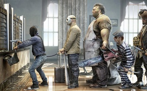 Picture humor, mask, pirate, maniacs, bag, the Bank, robbery, chainsaw, render, bit, con, customers, Rob