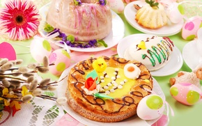 Picture eggs, Easter, cake, flowers, spring, eggs, easter, serving, Easter cake