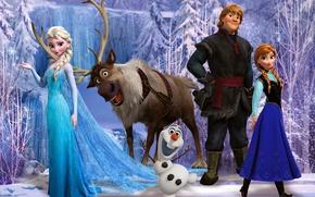 Picture snow, snowflakes, ice, deer, snowman, Frozen, Princess, Anna, Queen, Anna, animation, Walt Disney, Elsa, Elsa, …