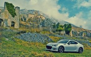 Picture car, machine, auto, landscape, stones, wall, the ruins, subaru, Subaru, brz