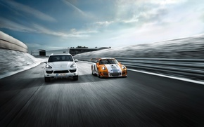 Wallpaper road, mix, Porsche, machine, sports car