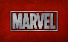 Picture red, background, logo, red, logo, MARVEL, Marvel