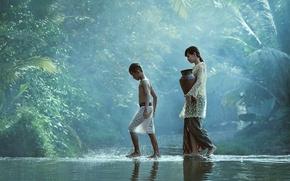 Picture water, children, river, stream, boy, village, jungle, girl, girl, pitcher, jungle, water, go, boy, village, ...