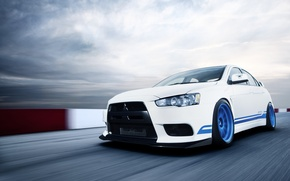 Picture white, speed, Mitsubishi, Lancer, white, Evolution, track, Lancer, Mitsubishi, evolution