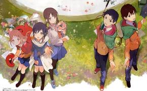 Picture summer, bouquet, racket, cloak, flowers, friends, school uniform, Agriculture, Agriculture, As Miyamoto, Wakana Sakai, Sawa …