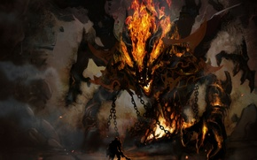 Picture chain, the demon, warrior, horns, cave, fire