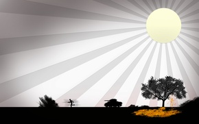 Wallpaper tree, the sun, war, tank