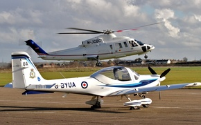 Picture helicopter, the plane, the airfield, the rise
