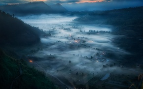 Picture mountains, fog, morning, valley, Indonesia, the island of Bali