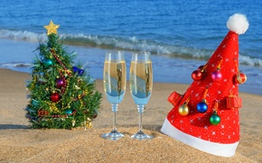 Wallpaper holiday, tree, Christmas, toys, cap, beach, sand, sea, new year, new year, glasses, the ocean, ...