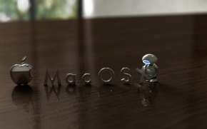 Wallpaper blur, table, mac os, robot