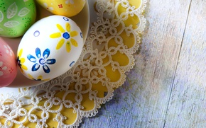 Picture holiday, Board, eggs, plate, Easter, lace, napkin, Easter, eggs