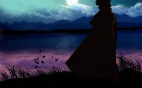 Wallpaper the moon, naruto, namikaze minato, lake, mountains, rock