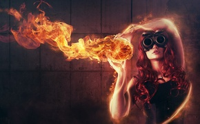 Wallpaper girl, abstraction, fire, glasses, red