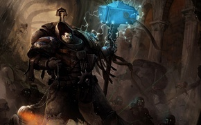 Picture hammer, fighters, Warhammer 40k, the commander