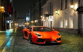 Picture Night, Lamborghini, Street, Orange, Building, LP700-4, Aventador, The front, Sports car