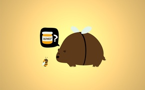 Picture bee, honey, Bear