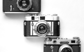 Picture white background, rarity, cameras, case, lenses, viewfinders, the sync, Carl Zeiss Tessar, Zorki-6, Quotes III, …