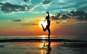 Picture beach, girl, joy, silhouette, running
