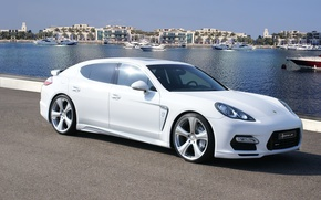 Picture white, water, Porsche, Panamera, white, Porsche, Hofele