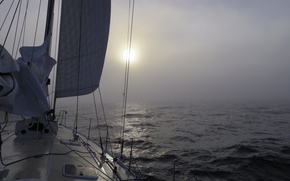 Picture sea, fog, morning, yacht, haze
