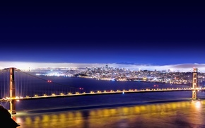 Wallpaper lights, bridge, San Francisco, Golden Gate, 156, night