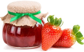 Picture strawberry, Bank, leaves, jam